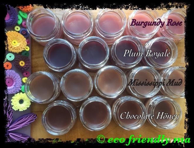 All-natural organic super-moisturizing tinted lip balm tints