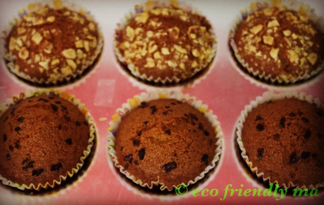 homemade diy vanilla muffin with chopped nuts & cacao nibs