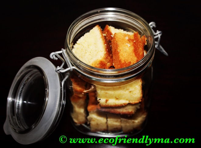 homemade organic vanilla sponge cake with cacao nibs in mason jar