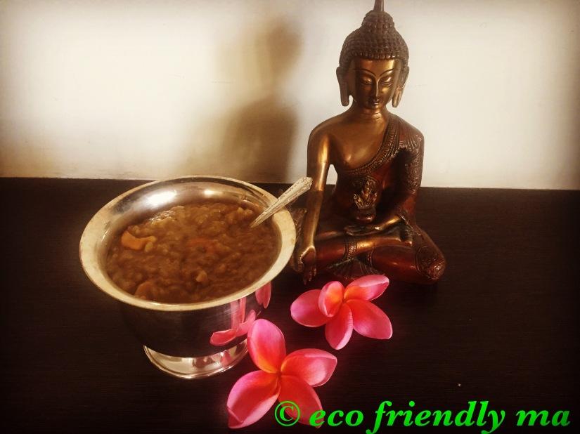 Homemade organic jaggery, rice n dal pudding(paramAnnaM)