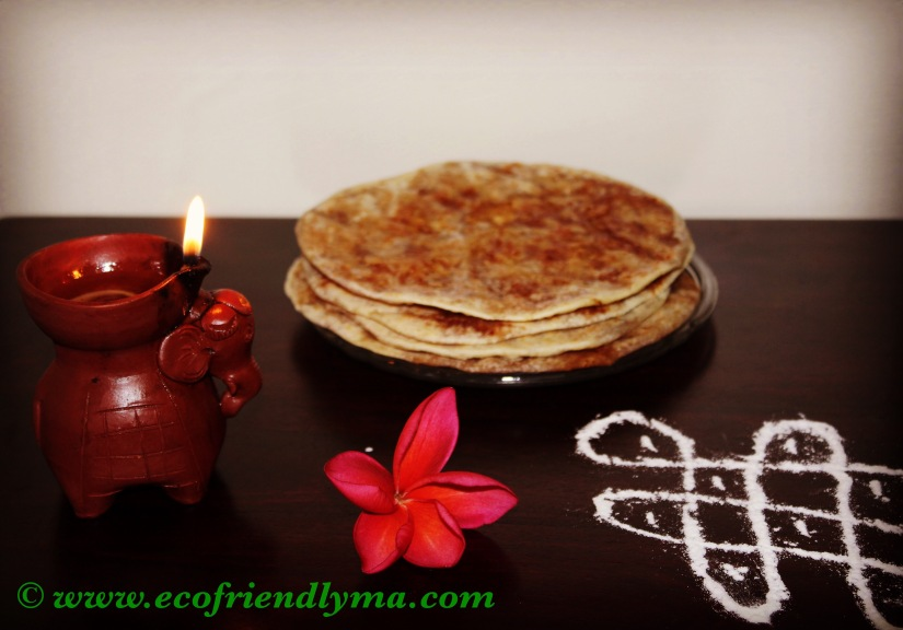 Homemade flat bread with coconut n jaggery stuffing or puran poli or bobatlu or holige