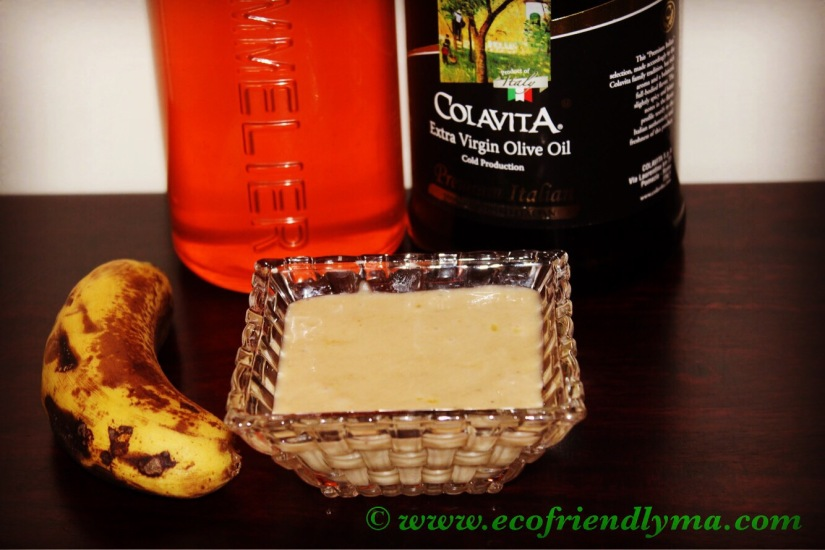 DIY homemade nourishing banana olive oil and honey hair conditioner