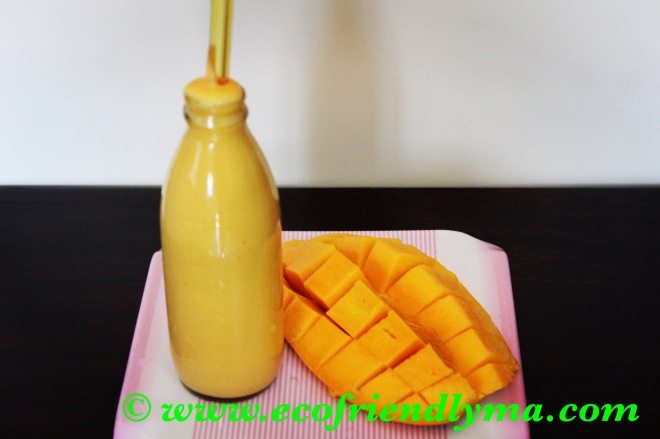 Homemade mango milk shake