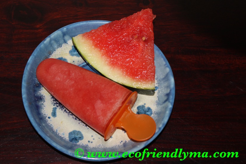 Homemade watermelon popsicle or ice lolly