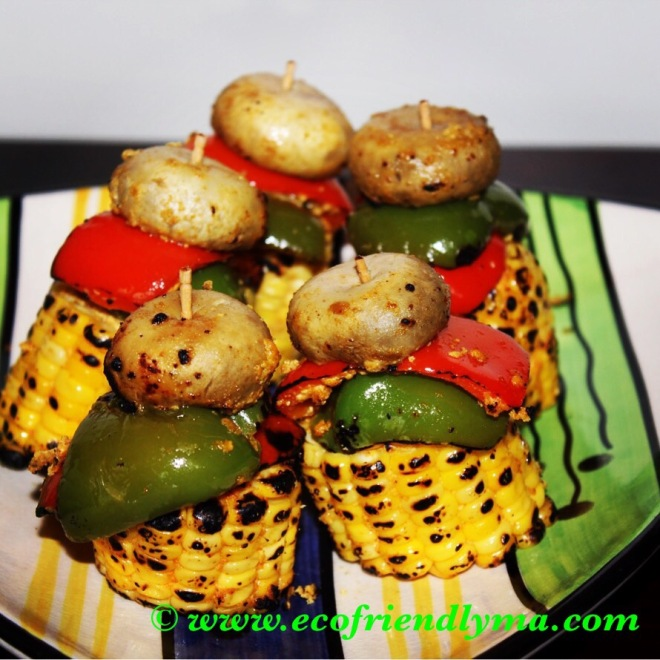 homemade veg bbq recipe sweetcorn bell peppers capsicum mushroom